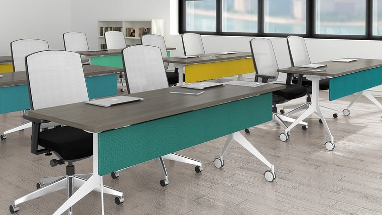 "The outcome of a modern vision of what furniture should be, the Quorum Multiconference collection redefines the word ""versatility"""
