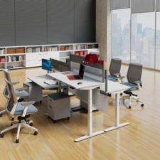 Height adjustable table allows users to sit or stand throughout the day promoting a healthy and productive work environment.